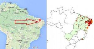 Šipka ukazující Juazeiro do Norte ve státě Ceará a výskyt vírusu Zika (zdroj: http://themadvirologist.blogspot.co.at/)