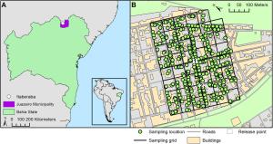 Skutečná lokalita testování GM komára (Juazeiro – Bahia) (zdroj: http://journals.plos.org)